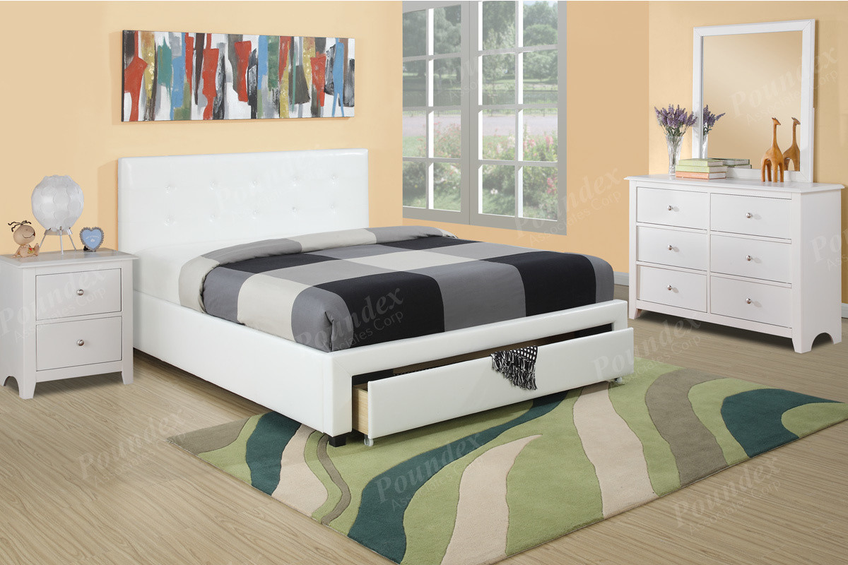 4-PCS White Full / Queen Bedroom Furniture F9314