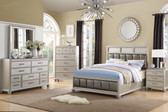 Hudson F9356 4-PC Silver Faux Leather Bed, Dresser, Mirror, Night Stand Set