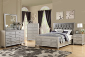 York F9357 4-PC Faux Leather Bed, Dresser, Mirror, Night Stand Bedroom Suite