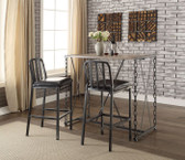 ACME 71990 3 Piece Pub Table with Iron Chain Legs and 2 Stools