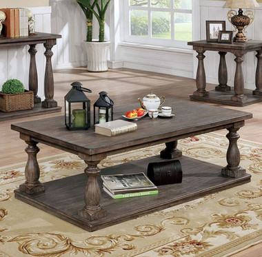 Tammie CM4421 Rustic Coffee Table In Gray Finish