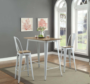 ACME 72375 3 Piece Pub Table with Two Arm-less Chairs