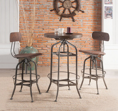 ACME 72380 3 PC Round Pub Table with 2 Adjustable Swivel Chairs