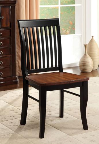 Earlham Antique Oak Black Wooden Seat Mission Style-Back Chair