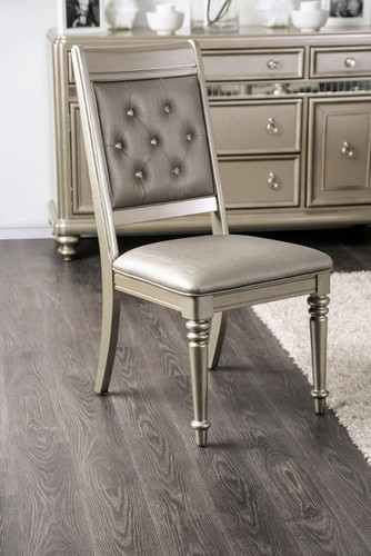Xandra Champagne Finish Tufted Leatherette Chairs (Set of 2)