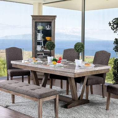 Bridgen 6 pcs Marble Table  with 4 chairs and bench