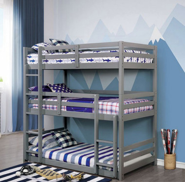 Laguna 3 Tier Bunk Bed in Twin Size | Gray Finish