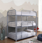 Ladera 3 Person Twin Size Metal Bunk Bed in Gray