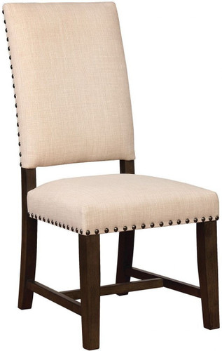 Beige Upholstered Parson Chair with Nail-head Trim Set of 2
