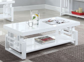 Windowpane High Gloss White Cocktail Table