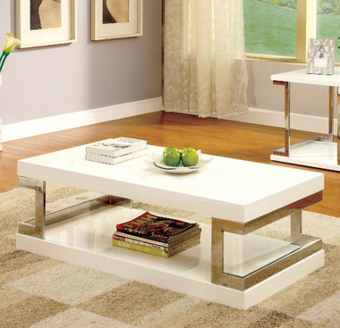 Meda CM4486 Chrome White Occasional Table