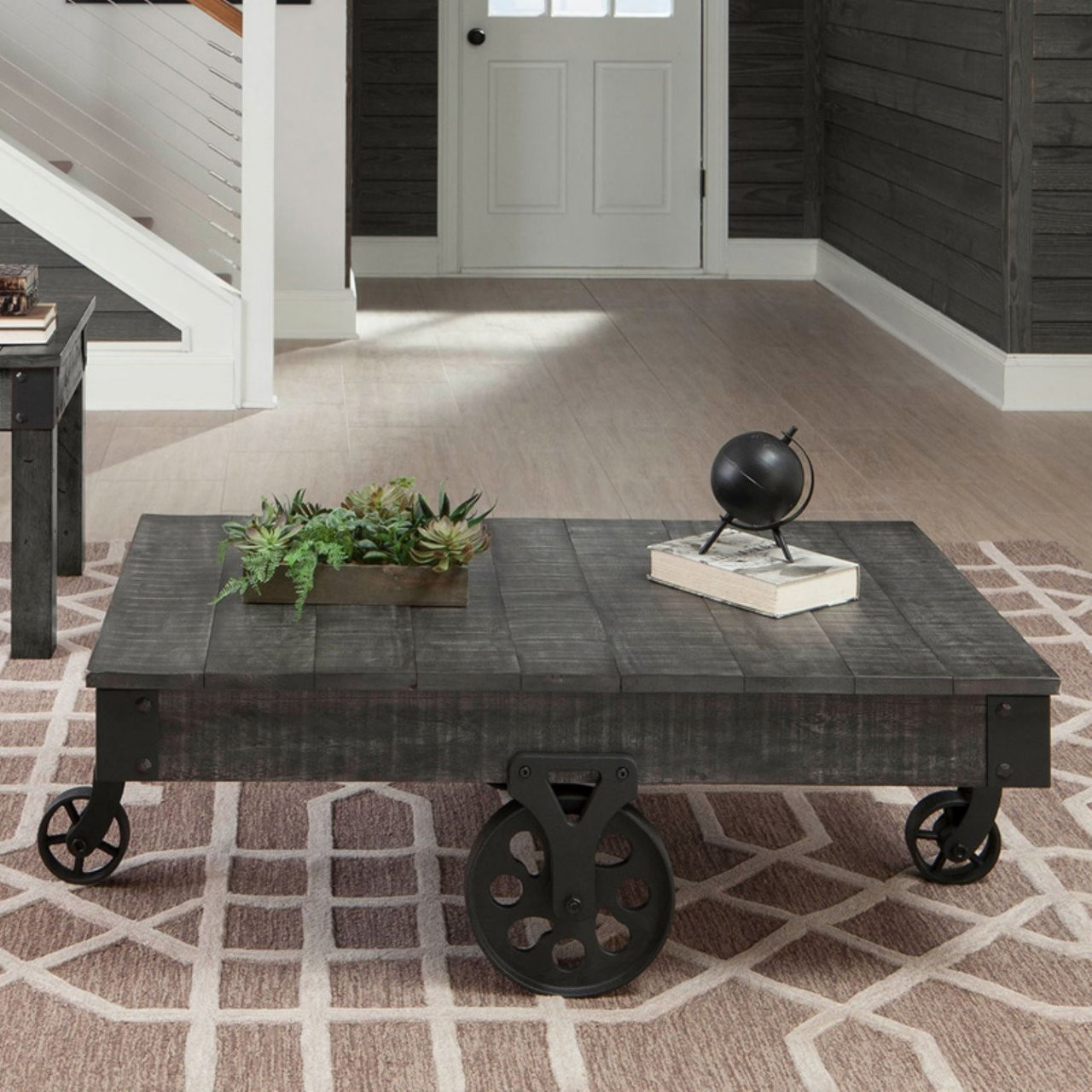 Rustic Distressed Gray Cocktail Table On Wheels Oc Furniture