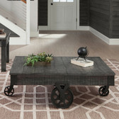 Rustic Distressed Gray Cocktail Table on Wheels with Metal Accents