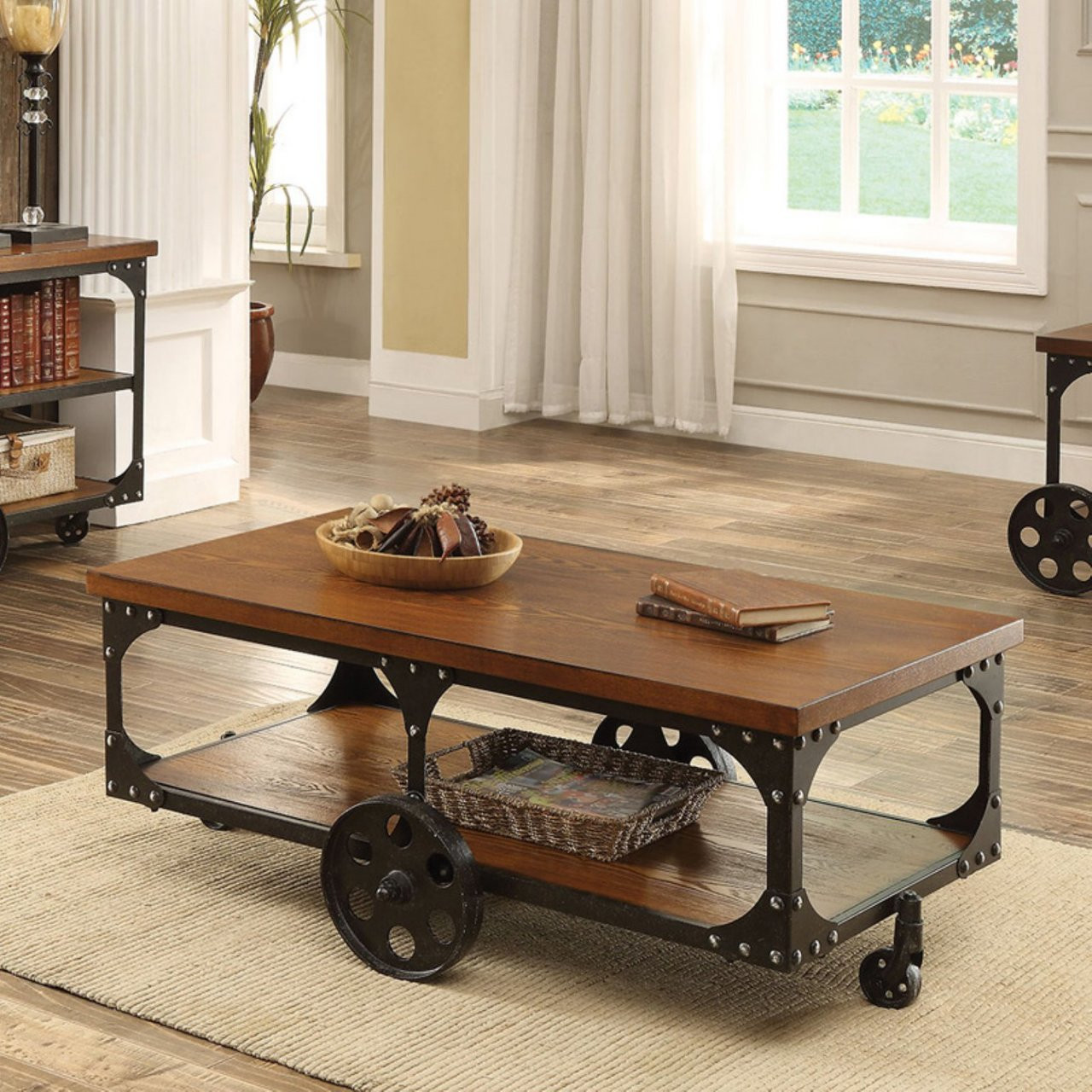 - Rustic Brown Rectangular Cocktail Table With Wheels