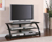 48 Inch TV Console in Black with Tempered Glass Shelves