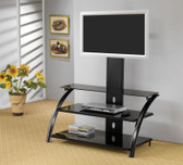 42 Inch TV Console in Black with Shelves