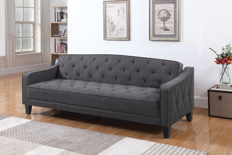 Remarkable Upholstered Tufted Dark Gray Fabric Sofa Bed Home Remodeling Inspirations Gresiscottssportslandcom
