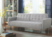 Upholstered Light Gray Fabric Split Back Sofa Bed