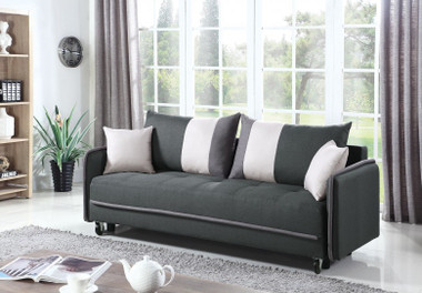 Upholstered Dark Gray Sofa Bed with Storage