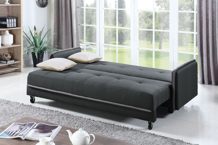 Stupendous Upholstered Dark Gray Sofa Bed With Storage Creativecarmelina Interior Chair Design Creativecarmelinacom