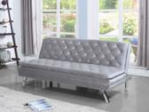 Silver Velvet Pillow Top Sofa Bed