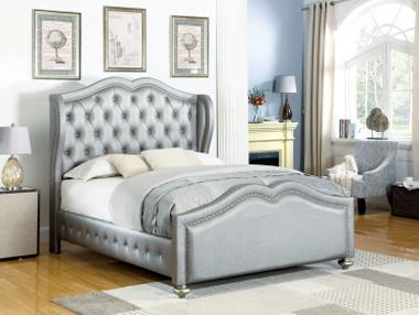 Belmont Metallic Platinum Upholstered Bed