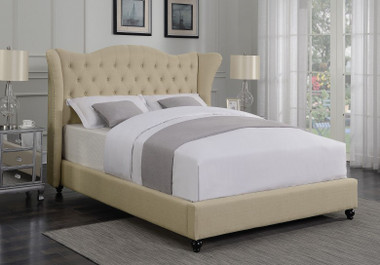 Demi Wing Fabric Upholstered Bed in Beige