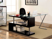 Furniture of America CM-DK6131 Bronwen Glass Desk | BRONWEN High Gloss Black Desk with Glass Top