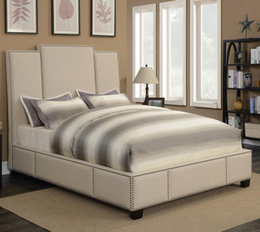 Lawndale Fabric Upholstered Bed in Beige