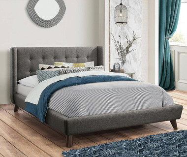 Carrington Woven Fabric Upholstered Bed in Gray