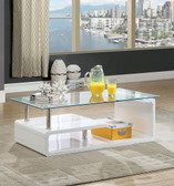 Torkel CM4056 White Occasional Table with Chrome Accents