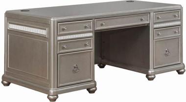 Ritzville Metallic Platinum Executive Office Desk with 7 Drawers