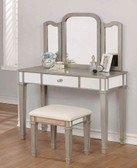 Emily Metallic Platinum Makeup Desk with Stool