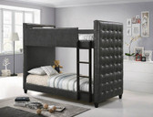 Axel Twin Size Double Decker Bunk with Gray Padded Leatherette Headboards