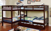 Corner L Shaped Twin Bunk Bed for 4 in Dark Walnut