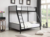 Gilbert Twin over Full Black Metal Bunk with Gray Fabric Headboards