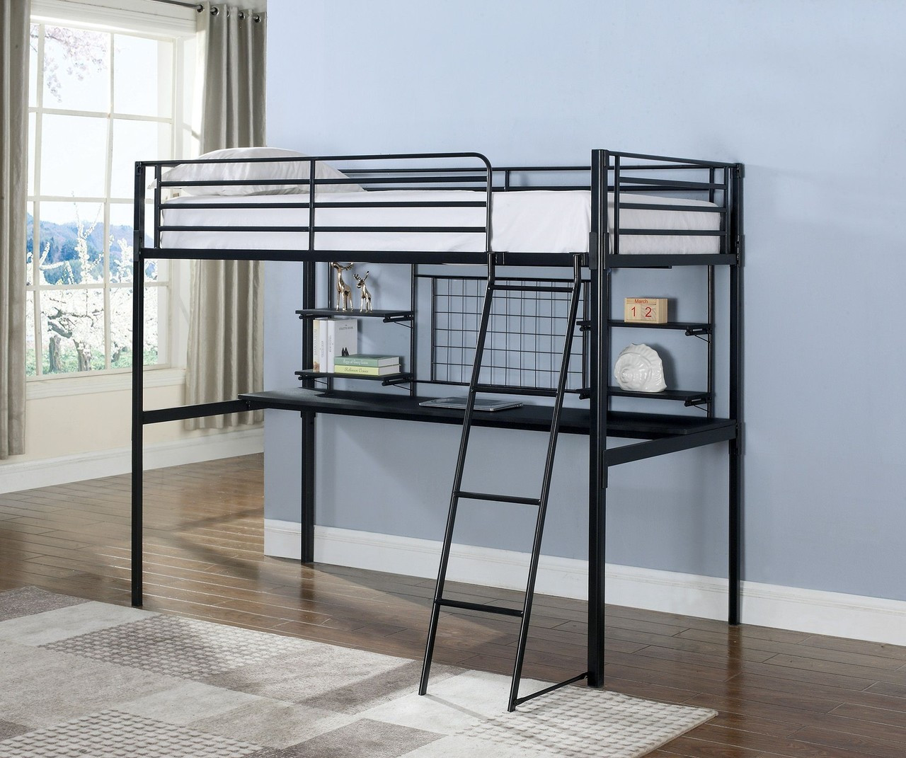 Dayton Black Twin Loft Bed With Desk Below ...