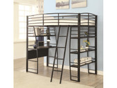 Damien Black Twin Loft with Desk and Shelves Below