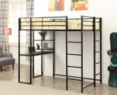 Harper Twin Loft with Desk Underneath in Black