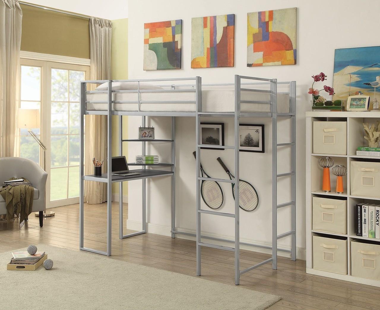 Harper Twin Loft with Desk Underneath with Bookshelf