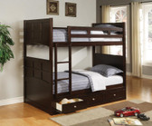 Fairview Cappuccino Twin over Twin Bunk with Optional Storage