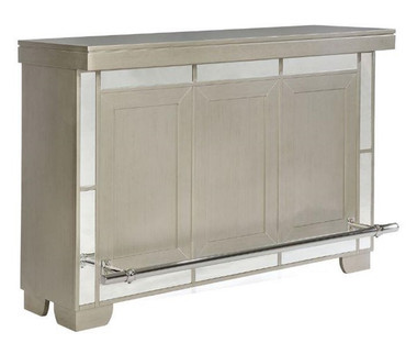 Glam Metallic Platinum Bar Table with wine Rack and Storage
