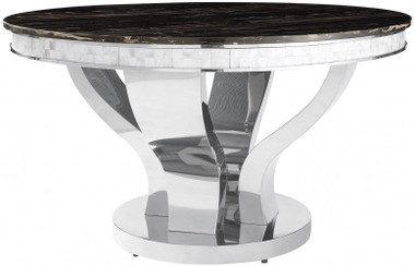"51"" Anchorage Round Chrome Pedestal Marble Dinner Table"