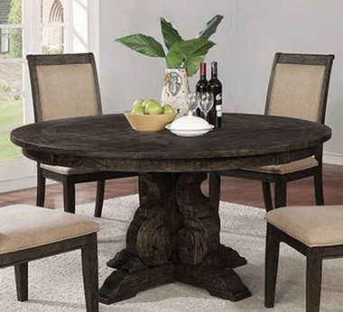 "60"" Round Burnished Black Single Pedestal Table"