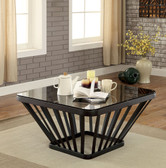 Winnie CM4109 Glass Square Occasional Table in Black Finish