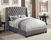 Arlene Gray Velvet Upholstered Demi Wing Bed with Tufting