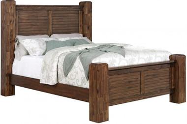 Aiden Vintage Bourbon Shutter Style Headboard Bed