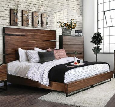 Morris Dark Oak Walnut Split Wood Panel Bed