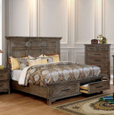 Calvin Rustic Oak Cornice Styled Headboard Bed