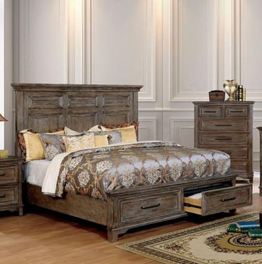 Calvin Rustic Oak Cornice Styled Headboard Bed